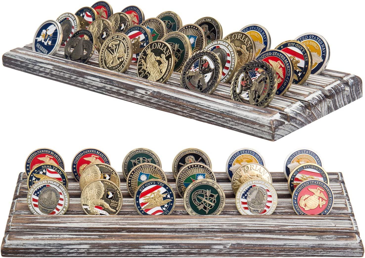 Set of 2 MyGift 13 x 4 Inch Torched Wood Military Challenge Coin Display Stand with 4 Rows