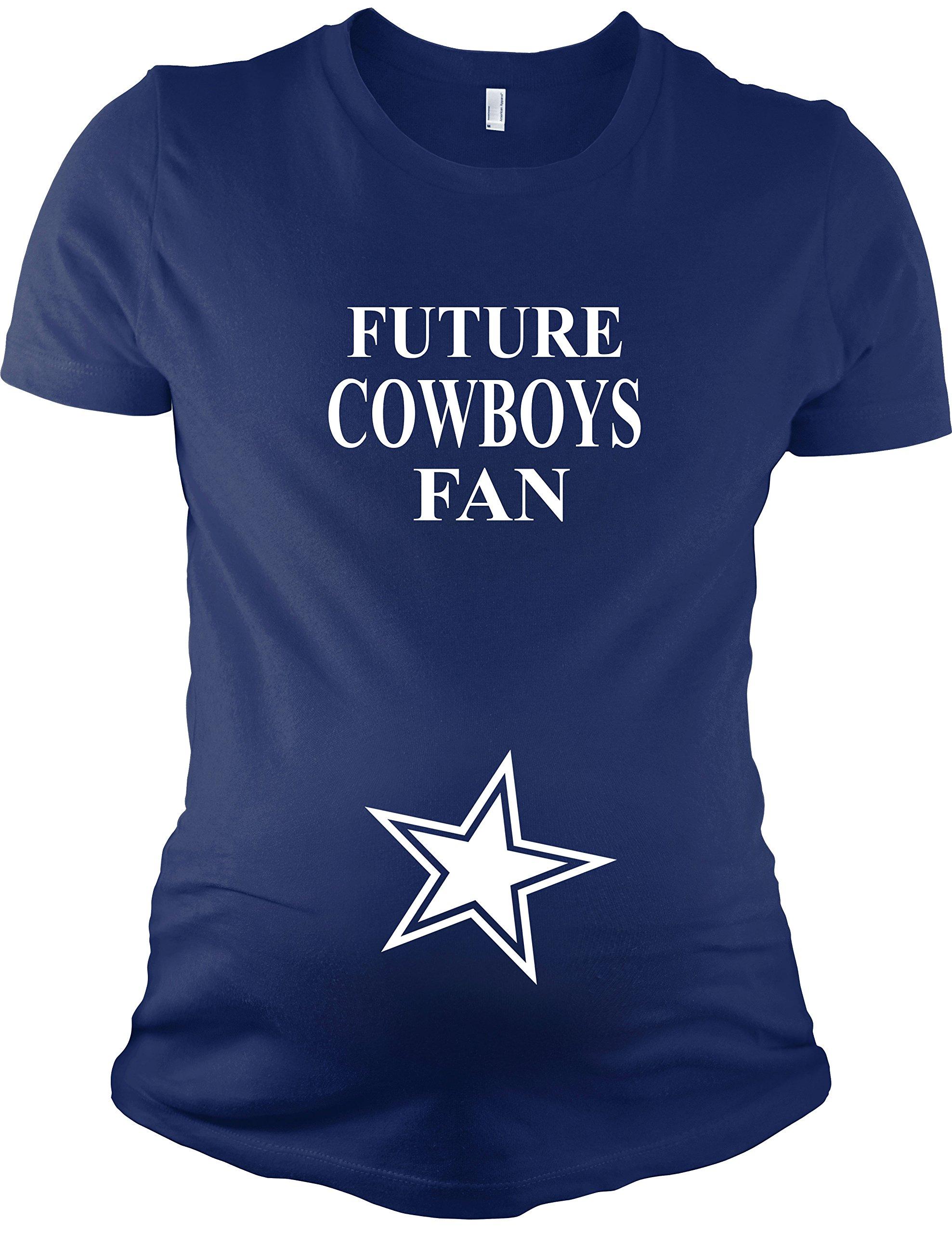 PandoraTees Maternity Short Sleeve T-Shirt - Future Cowboys Fan, Navy, L