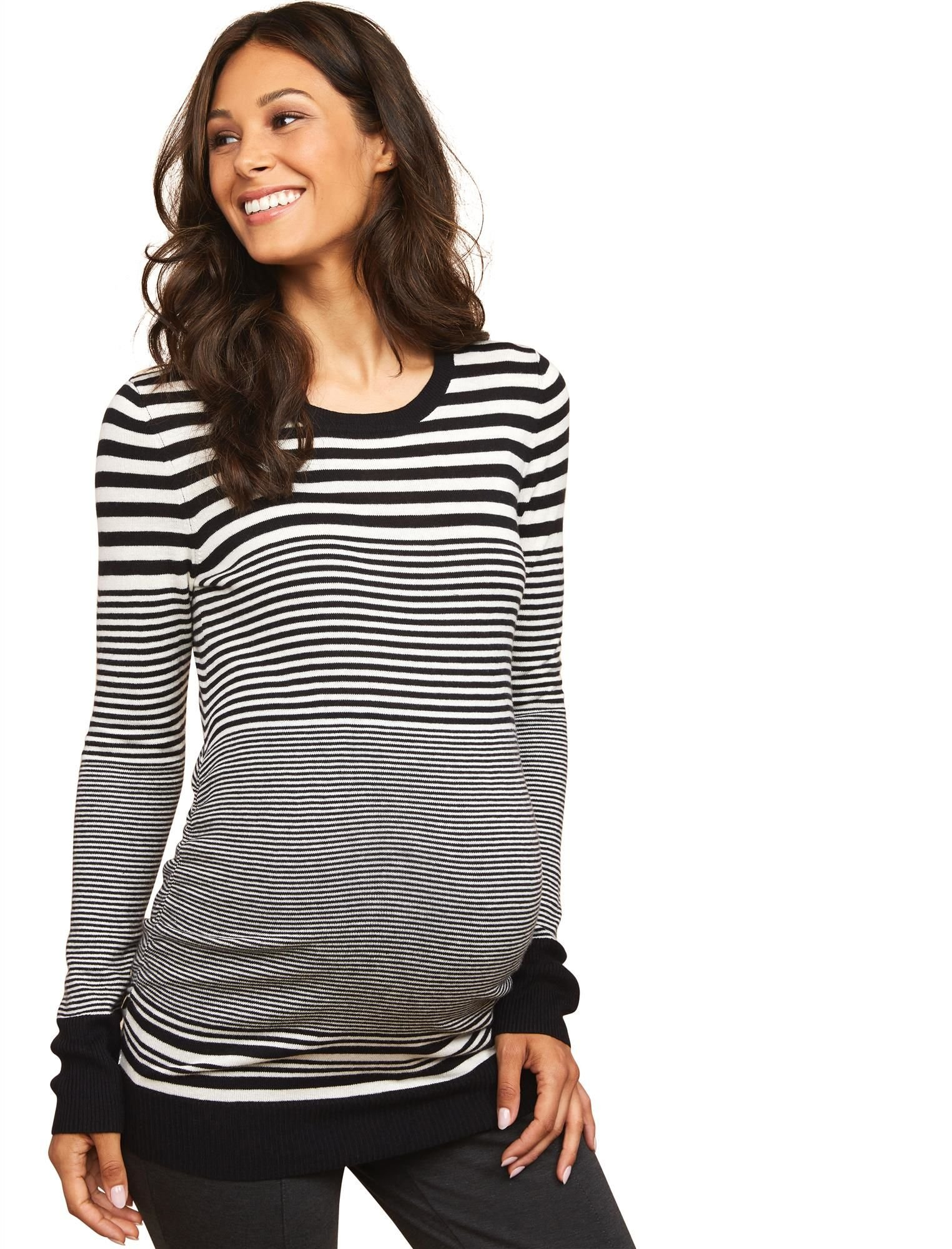 Motherhood Maternity Women's Long Sleeve Crew Neck Side Ruched Sweater, Black and White Stripe, Extra Large