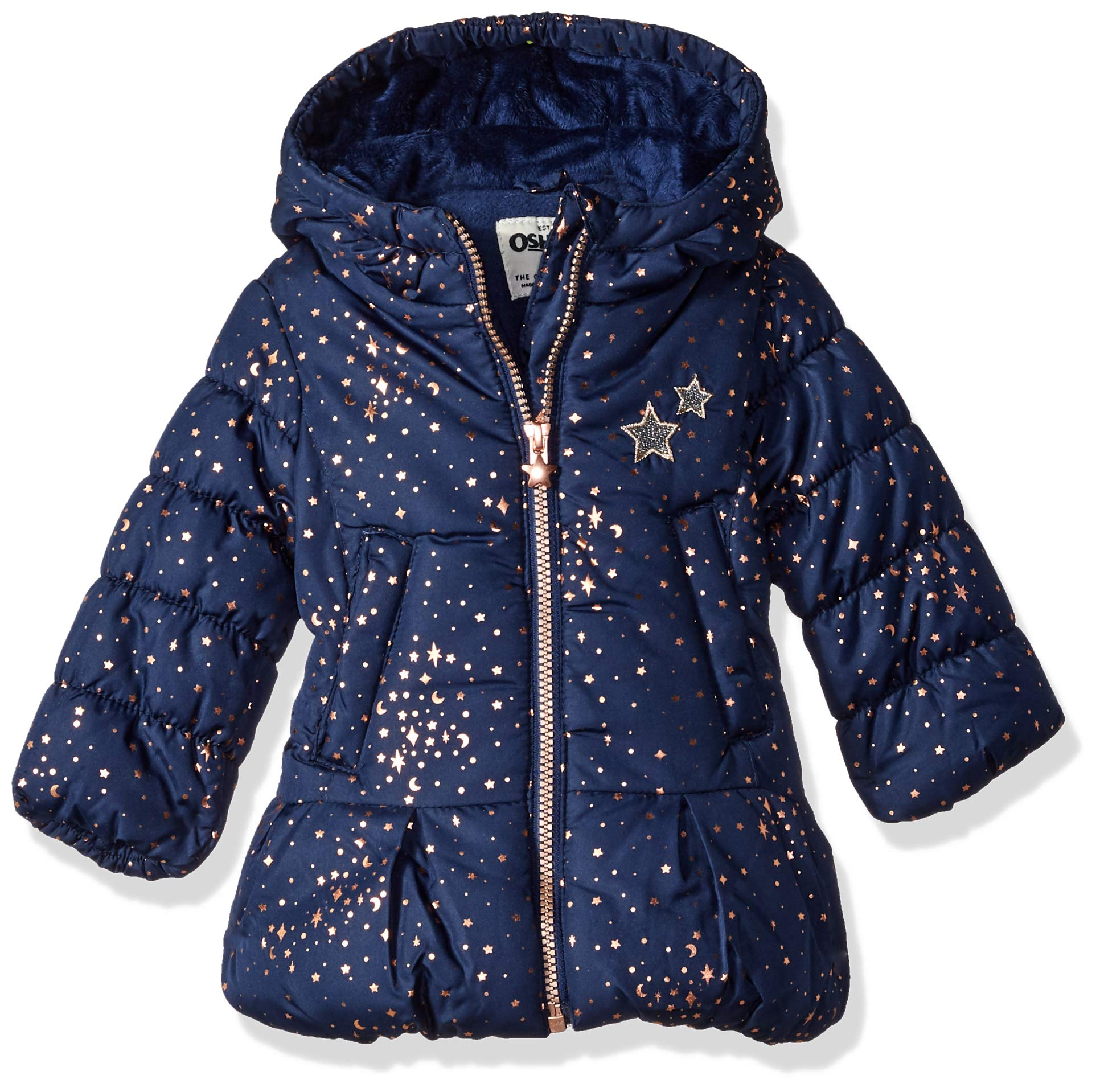 Osh Kosh Baby Girls Hooded Peplum Jacket Coat, Navy, 12M