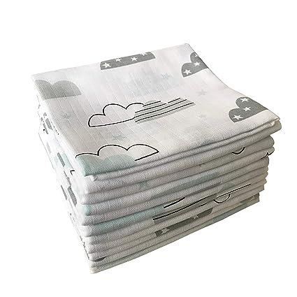 Wolken /& Sterne /ÖKO-TEX 10x Spuckt/ücher Mullwindeln Baby Baumwolle 80x70 cm