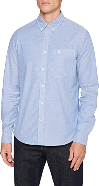 Calvin Klein Chambray Slim Stretch Camisa, Blue, XL para Hombre