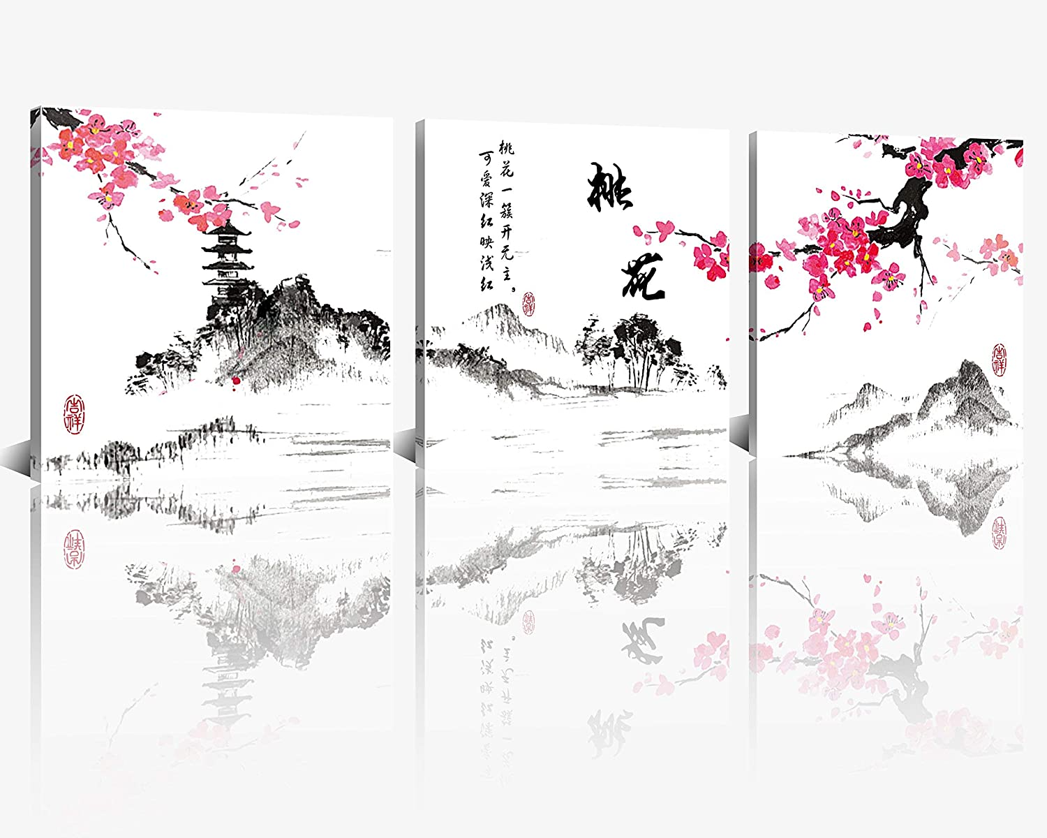 NAN Wind Small Size Traditional Chinese Painting of Peach Blossom Canvas Prints 3 Panels Calligraphy Art Paintings Wall Art Poem Print Painting Framed 12x12inches 3pcs/set
