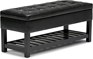 SIMPLIHOME Cosmopolitan 44 inch Wide Rectangle Ottoman Bench with Open Bottom in Midnight Black Tufted Footrest Stool, Faux Leather for Living Room, Bedroom, Traditional