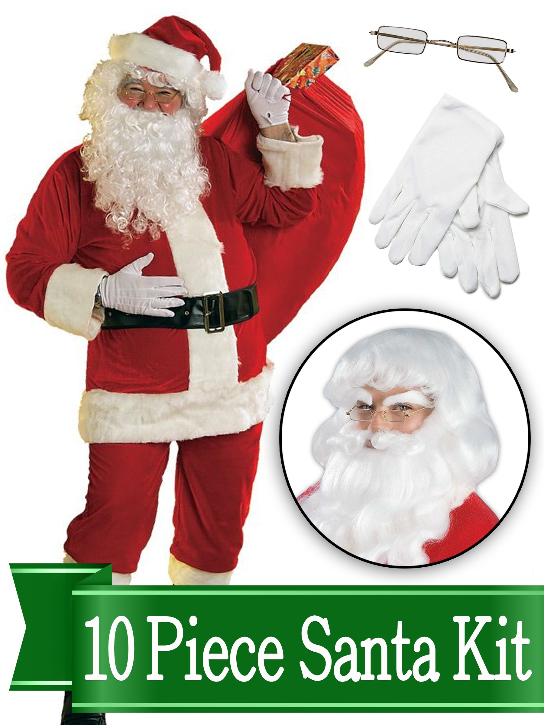BirthdayExpress Santa Suit Complete Kit Red Ultra Velvet Deluxe Complete 10 Piece Kit - Santa Costume Outfit
