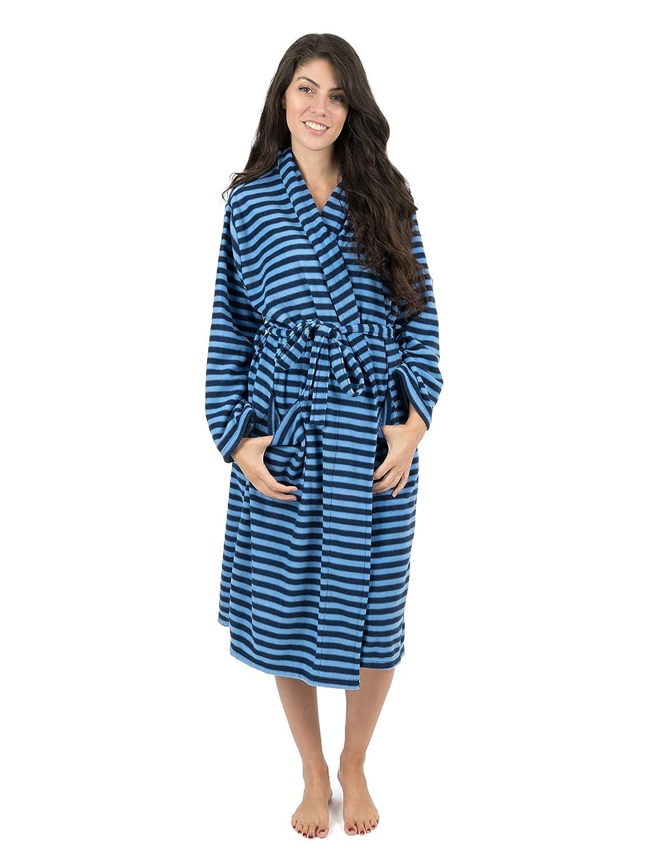 bluee Navy Leveret Women's Robe Soft Micro Fleece Plush Shawl Collar Bathrobe Robe (Size SmallXXLarge)
