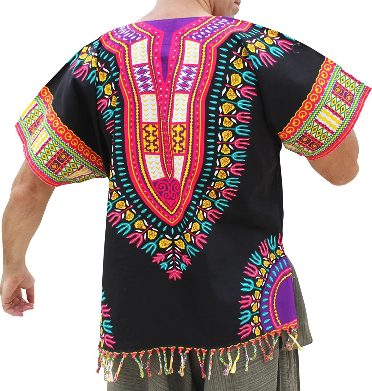 RaanPahMuang Bold Cotton Dashiki Unisex African Shirt with Tassels and Pockets