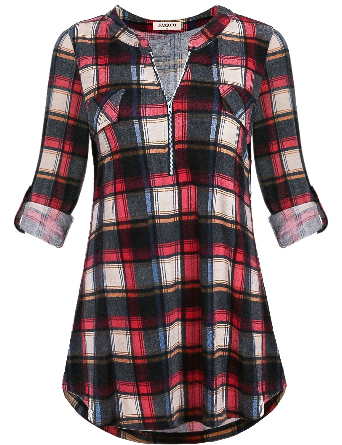 Jazzco Work Blouses for Women Fashion 2018,Misses Tops Zipper V Neck Tunic Dressy Cuffed Sleeve Shirttail Hem Geometric Printed Tee Shirt Career Clothes(Plaid Red,XX-Large)