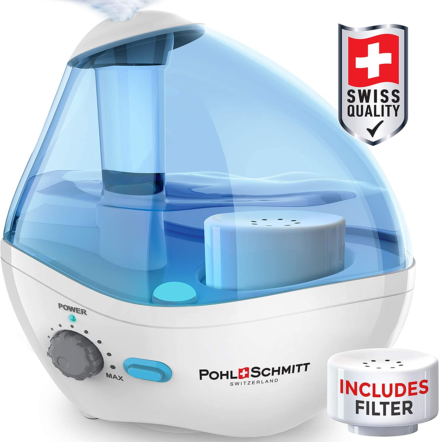 Pohl+Schmitt Ultrasonic Humidifier for Bedrooms, Whisper-Quiet Operation with Nightlight and Auto-Shut Off, Adjustable Mist, 16 hours Operating Time & Filter Included