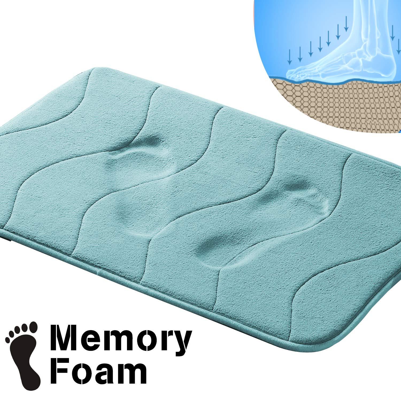 Premium Memory Foam 17x24 inch Machine Washable Bath Rugs Set for Bathroom/Kitchen Dry Fast Water Absorbent Rugs Absorbent Soft Microfibers Bathroom Rug Non-Slip Bath Rugs - Aqua Green