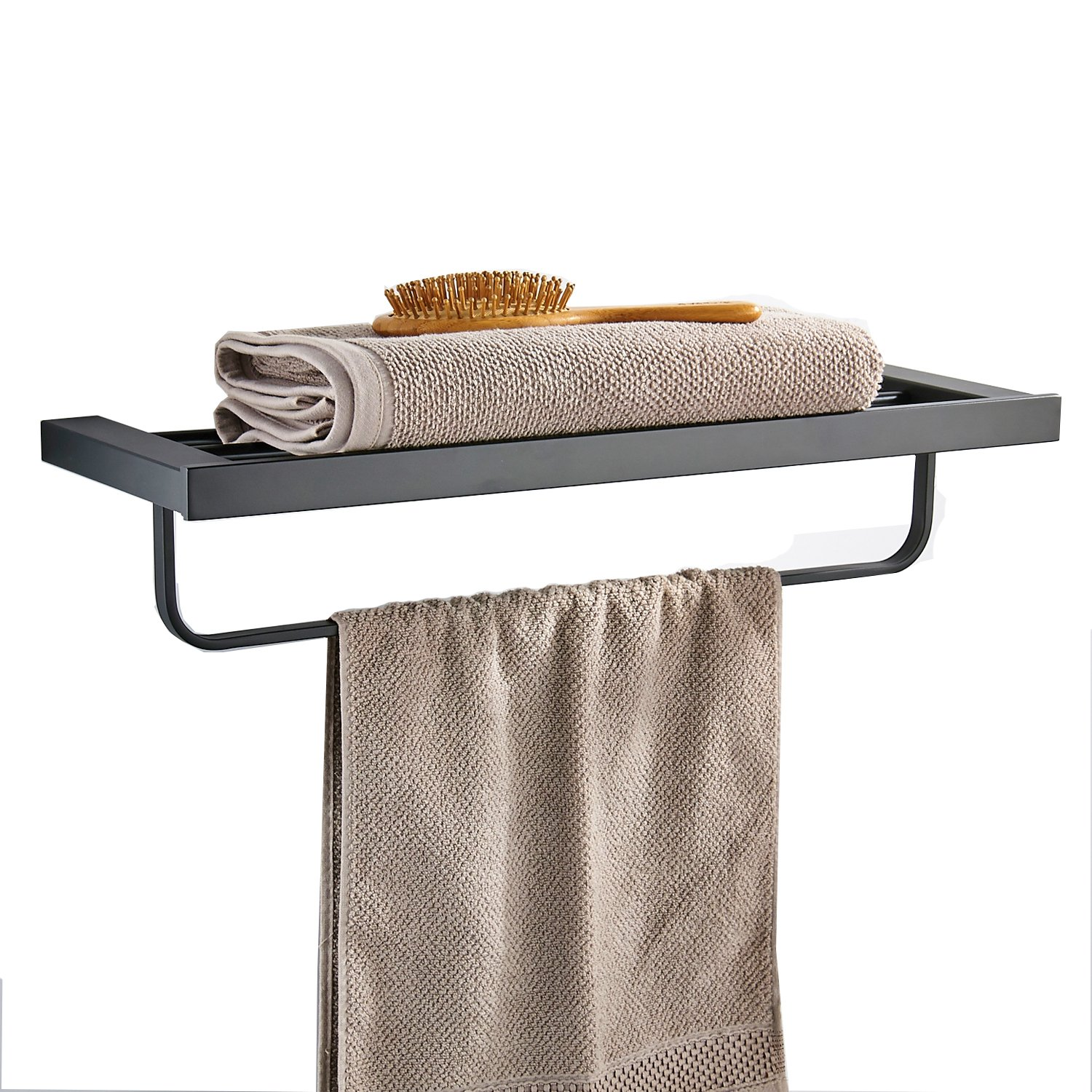 Bath Towel Shelf with Movable Bar 24 Inch Stainless Steel Bathroom Decor Rack Hotel Style Invisible Wall Mount Hanger Washcloth Holder Rack Hardware Included Matte Black MARMOLUX ACC