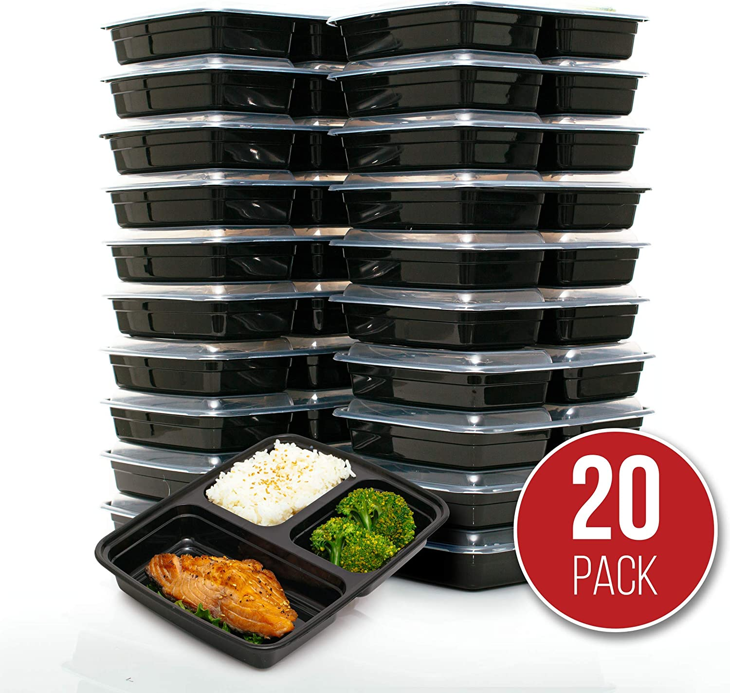 FitBoxx 39 oz Plastic Meal Prep Containers [20 pack], Plastic Food Storage Containers with Lids, 3 Compartment To Go Containers, Portion Control Containers, BPA-free