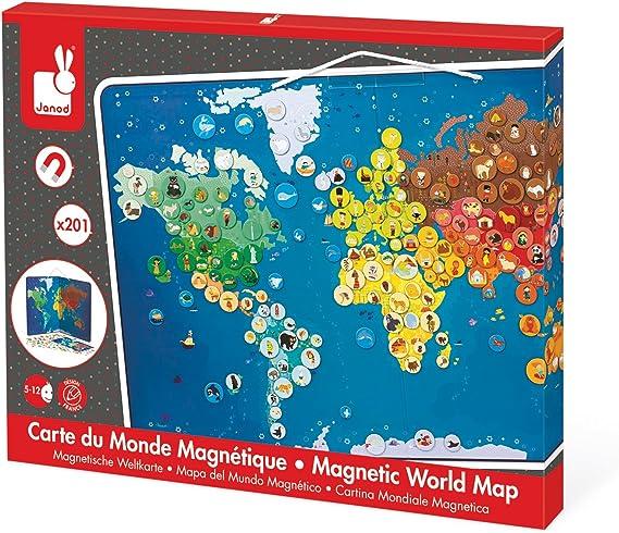 Janod - Mapa del Mundo magnético con Animales (J02889): Amazon.es: Juguetes y juegos