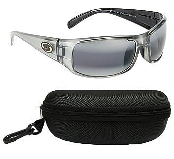 Huelga rey Okeechobee gafas de sol polarizadas, Shiny Clear Gray/Metallic Black Frame-