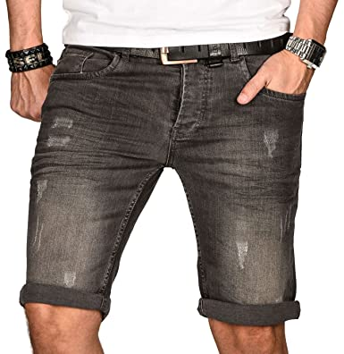7137c0b611ae4 A. Salvarini Herren Designer Jeans Short Kurze Hose Slim Sommer Shorts  Bermuda