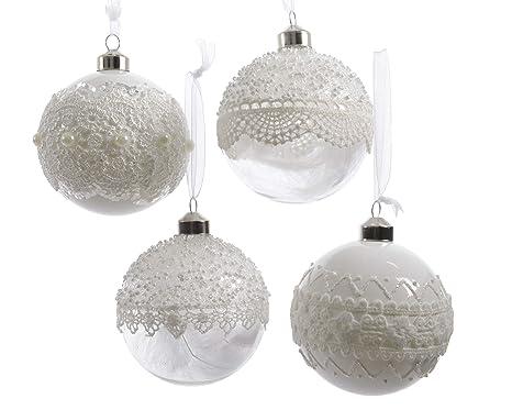 416fe389d528b 12 Bolas 8 cm Transparente Blanco Transparente Cristal Juego de Bolas Árbol de  Navidad Adornos del
