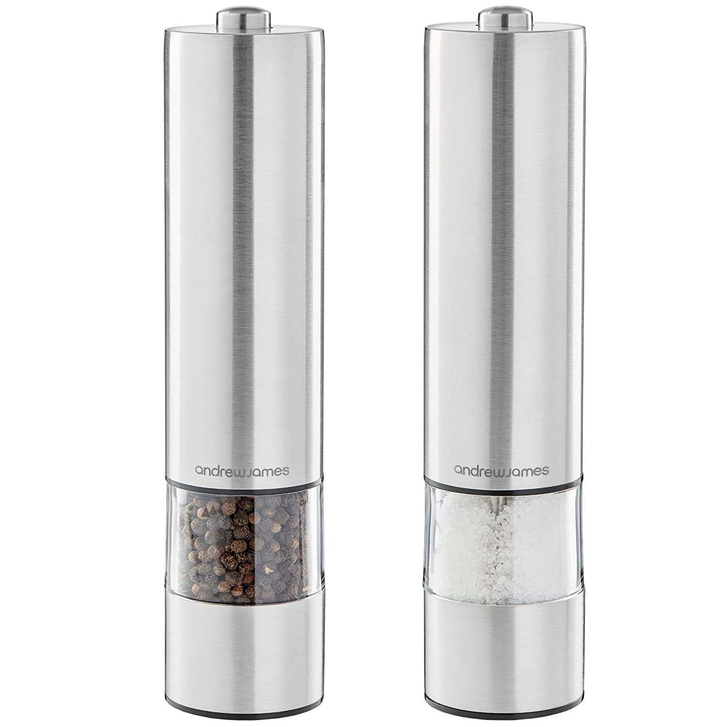 Andrew James Electric Salt And Pepper Mill Set Battery Operated