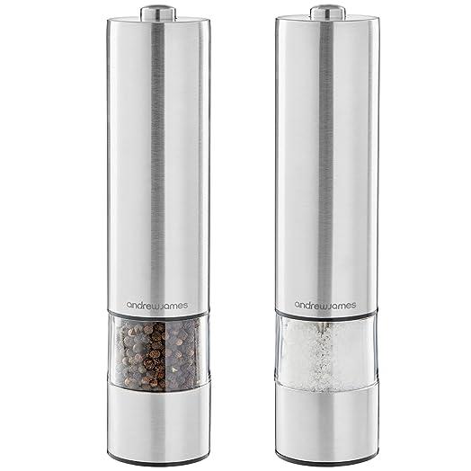 Andrew James Electric Salt Pepper Grinder Set Stainless Steel