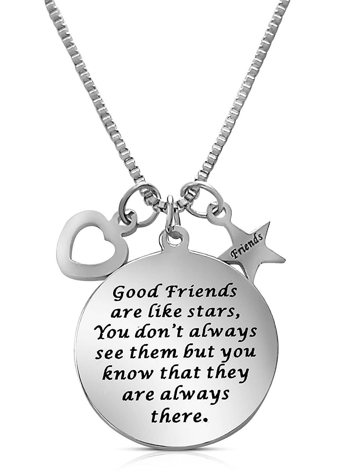"""""""Good Friends Are Like Stars"""" Inspirational Friendship Necklace for Best Friends Forever, Besties, BFF"""