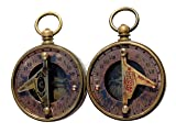 MAH Pocket Sundial Compass, Both Side Handwork on