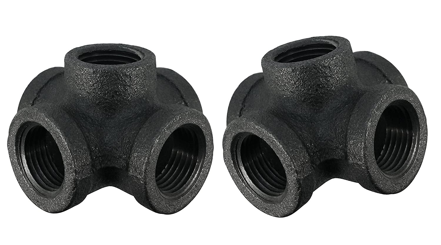 1/2 Inch Side Outlet Pipe Cross, 5 Way Fitting by Pipe Décor, Industrial Steel Grey, Build Tables, Chairs, Shelving and Custom Furniture, Fits Standard Half Inch Black Pipes and Nipples, 2 Pack