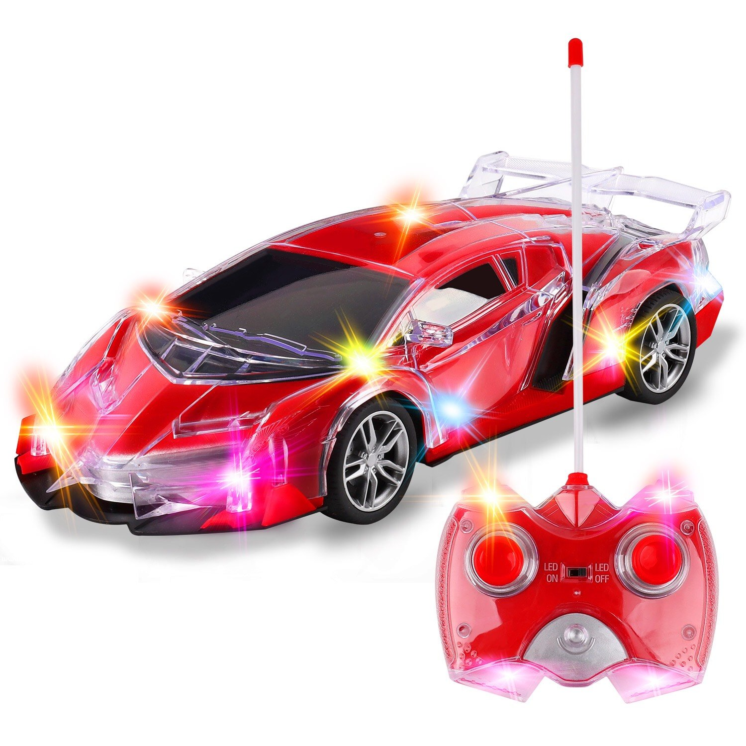 Light up RC Remote Control Racing Car | 1:24 Scale Radio Control Sports Car Flashing LED Lights | Ideal Gift Toy Kids