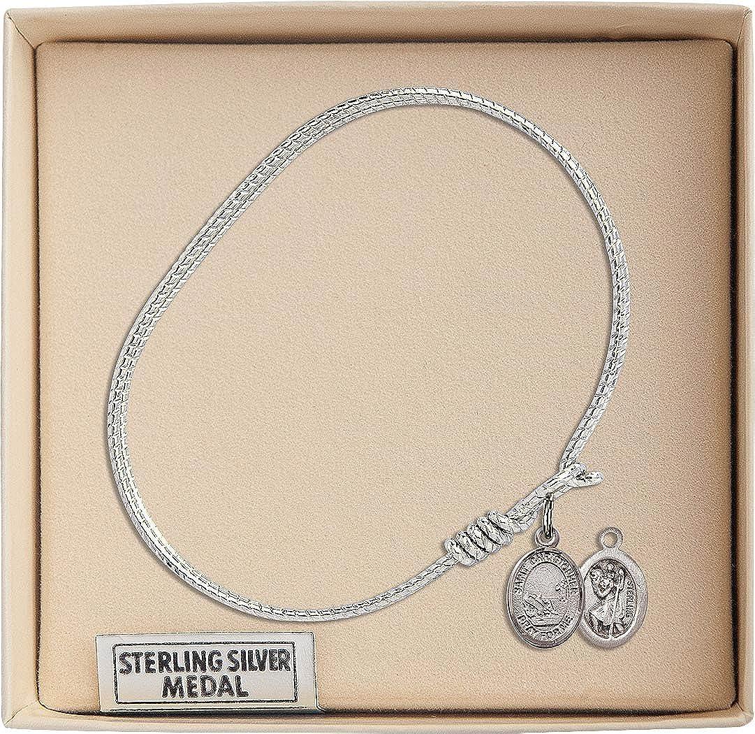 Christopher//Fishing Charm. 6 1//4 inch Oval Eye Hook Bangle Bracelet with a St