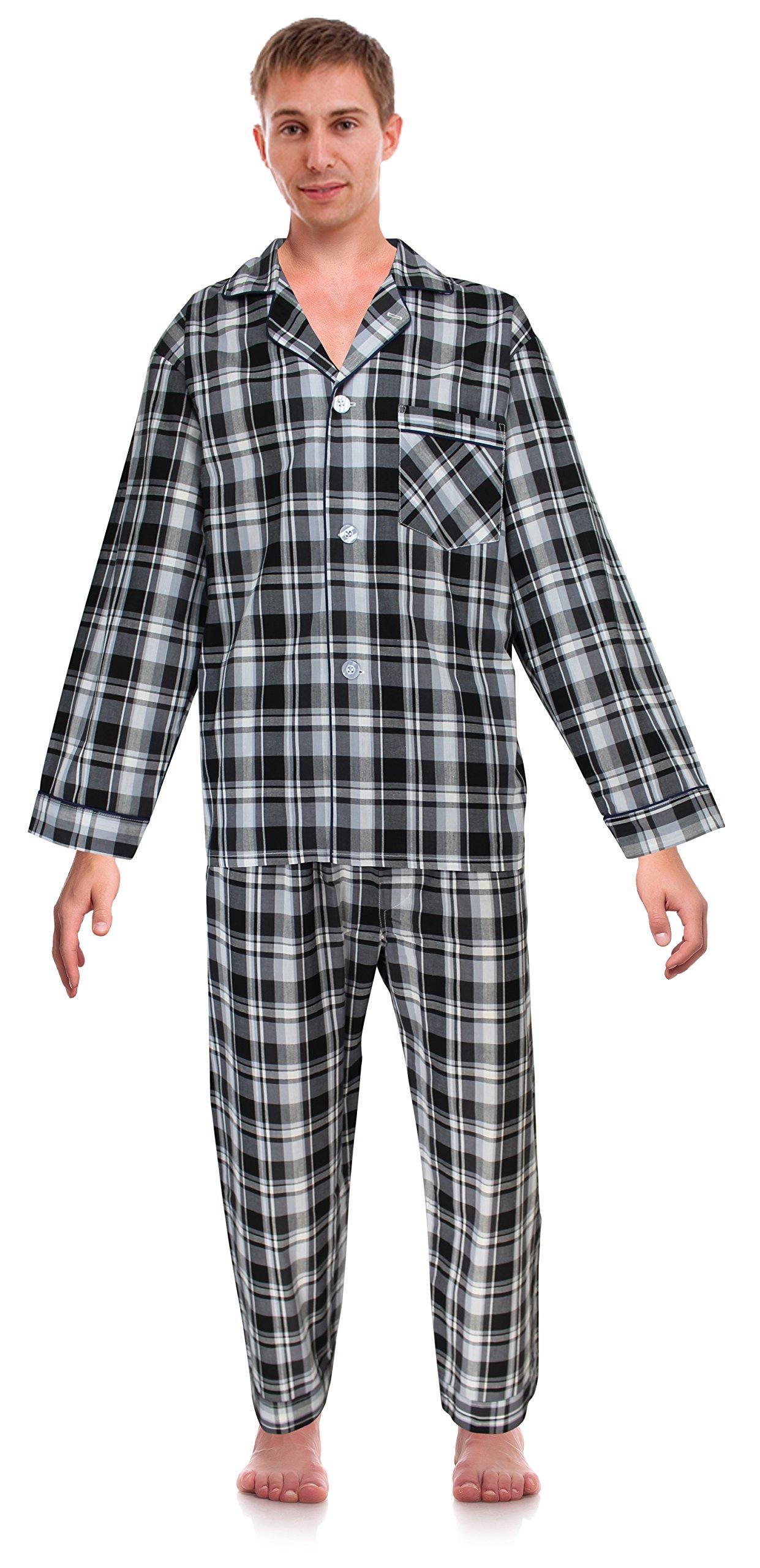 RK Classical Sleepwear Men's Broadcloth Woven Pajama Set, Size XXX-Large