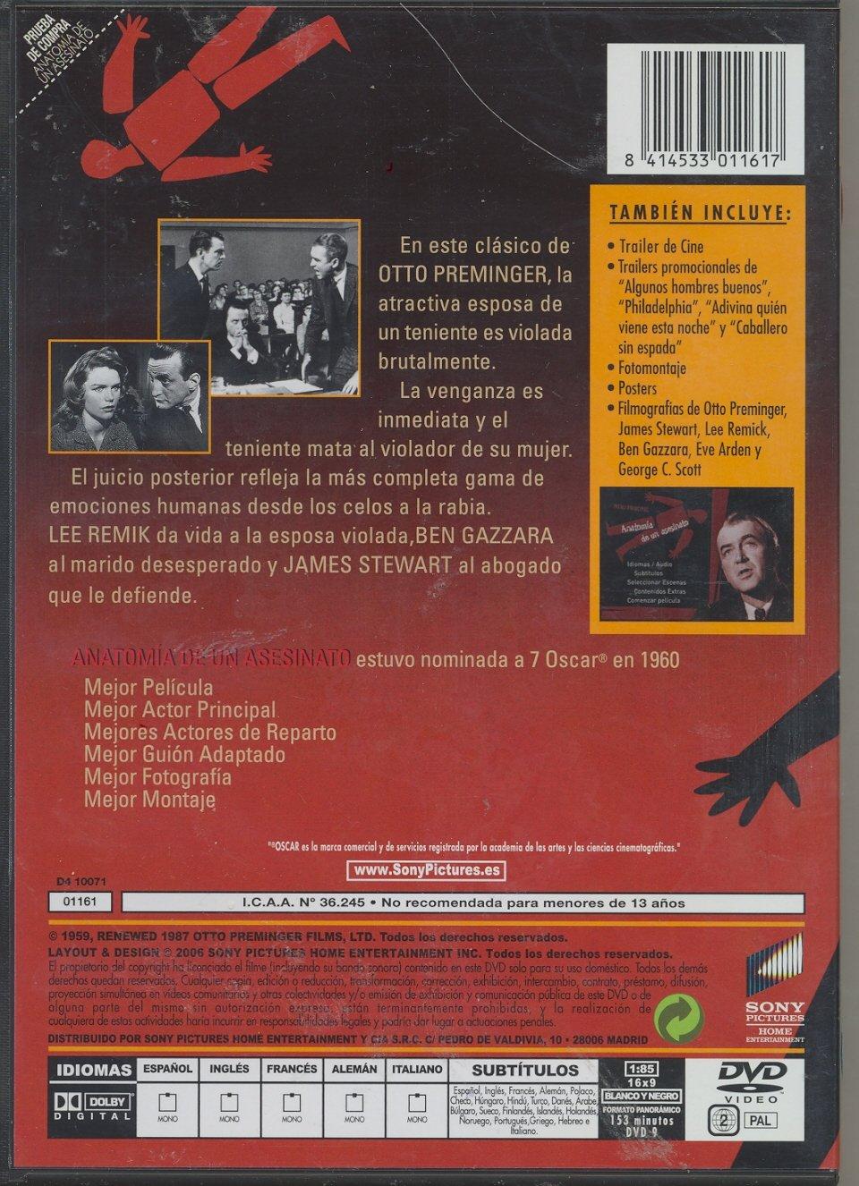 Anatomia De Un Asesinato [DVD]: Amazon.es: James Stewart, Kathryn ...