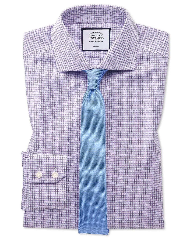 Chemise violets à Col Cutaway Et voiturereaux Simples En Oxford Stretch Extra Slim Fit Sans Repassage   violets (Poignet Simple)   15.5   35