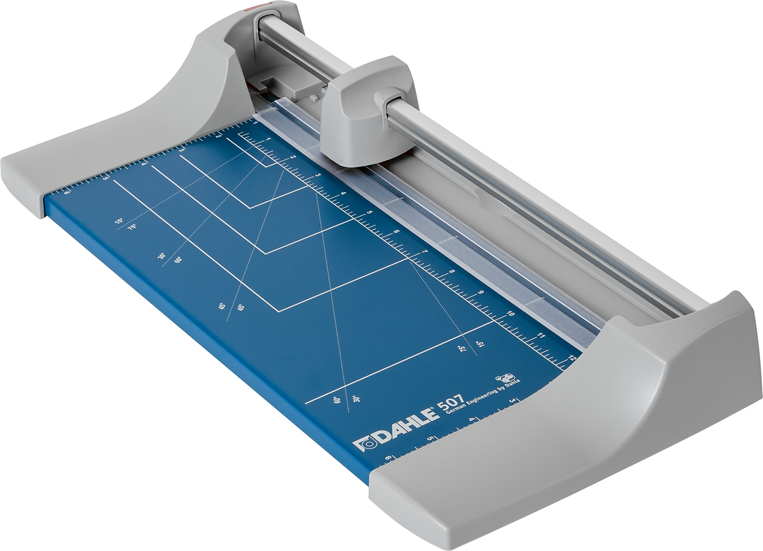 Dahle 507 Personal Rolling Trimmer, 12.5'' Cut Length, 7 Sheet Capacity, Self-Sharpening, Automatic Clamp, German Engineered Paper Cutter