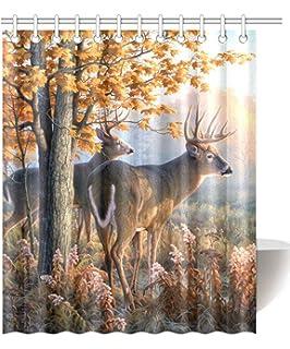 InterestPrint Deer Waterproof Polyester Fabric 60 (w) X 72 (h) Shower  Curtain