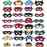 KRUCE 32 Pièces Masques de Super-Héros, Super-Héros Masque de Feutre, Masques de Super-héros Cosplay, Demi-Masques de Faveurs de Fête pour Enfants ou Garçons de 3+