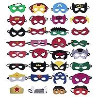 KRUCE 32 pezzi maschere di supereroi, supereroe per feste, supereroi maschere Cosplay, bomboniere maschere per bambini o ragazzi di età compresa tra 3 e più