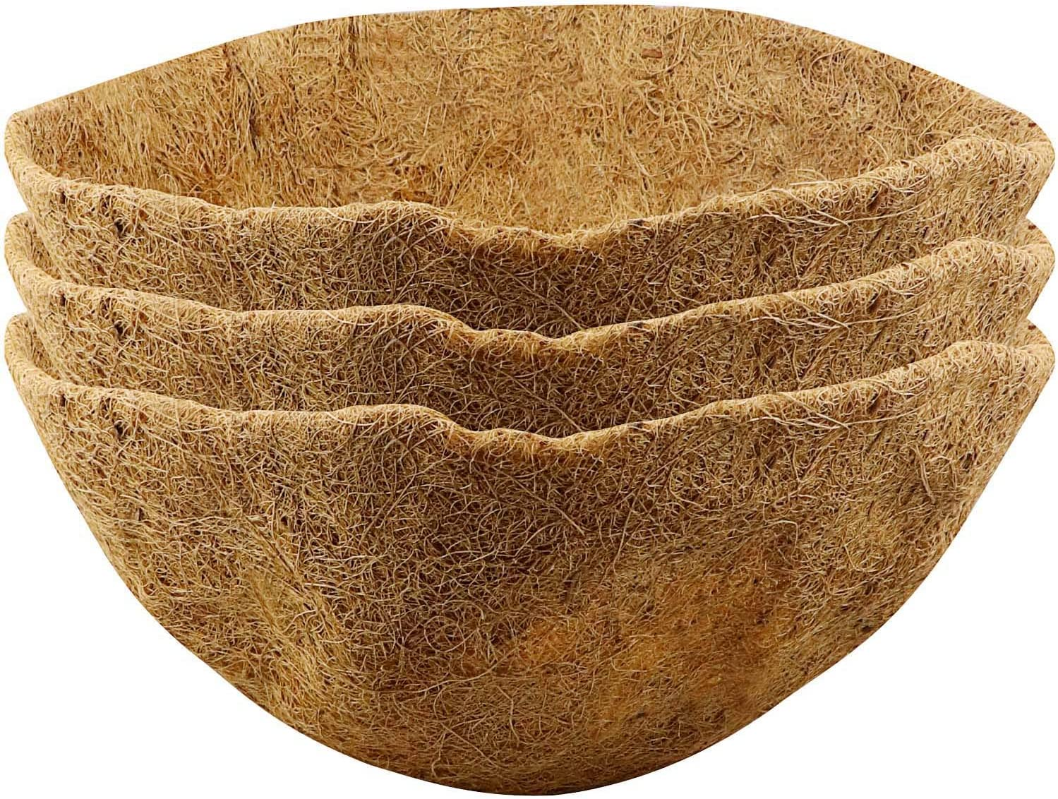 HiGift 3 Pack 14 inch Coco Liner, Replacement Coir Liner for Hanging Basket, Round Plant Basket Liners with Natural Coconut Fiber for Garden Hanging Basket and Planter Flower Pot