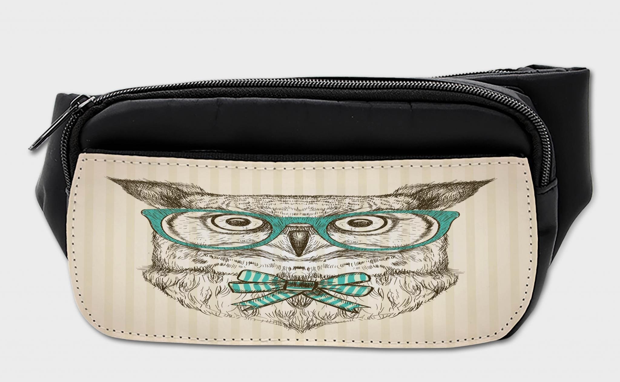 Lunarable Owl Bumbag, Hipster Bird Bow Tie Glasses, Fanny Pack Hip Waist Bag