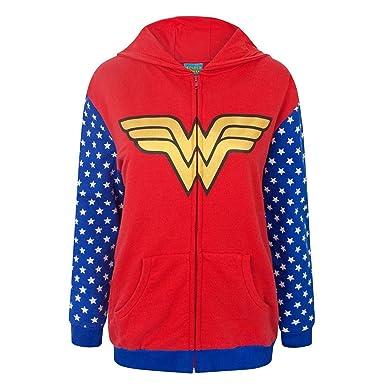 Wonder Woman - Sudadera con Cremallera y Logo para Mujer (Pequeña (S))