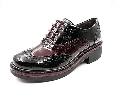 Zapatos Mujer Tipo Oxford Marca Pitillos -Piel Combi Charol Color Burdeos, Cierre Cordones -