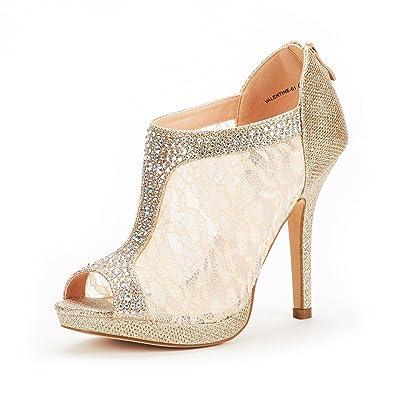 16de9df386d74c DREAM PAIRS Women s Valentine-01 Gold Glitter Fashion Dress High Heel Peep  Toe Wedding Pumps