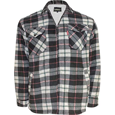 Fashionego Mens Thick Padded Quilted Check Lumberjack Shirt Warm