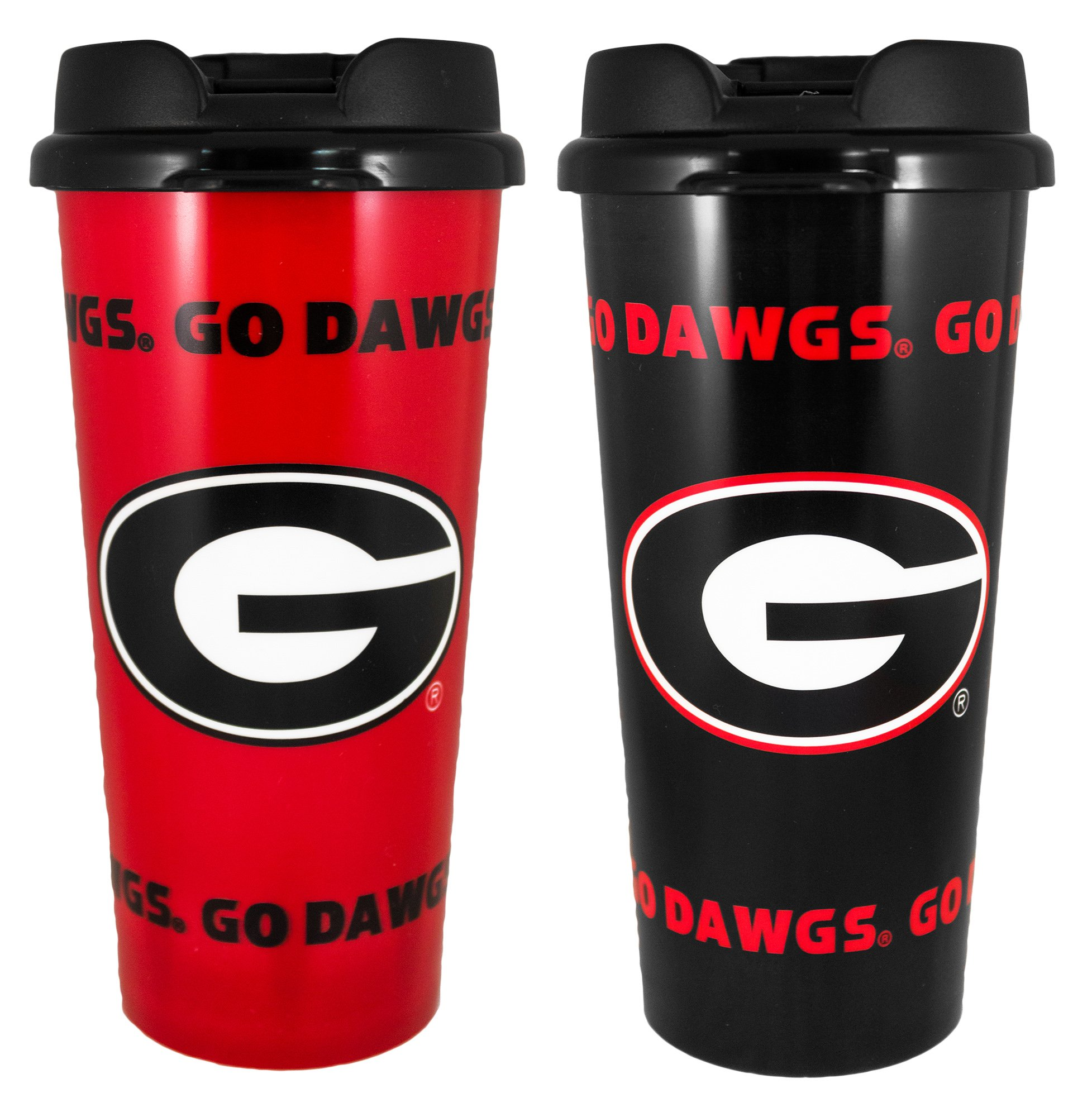 Whirley Drink Works Gameday Novelty NCAA Georgia Bulldogs Insulated Travel Tumbler with No Spill Flip Lid, 16 oz, 2 Piece