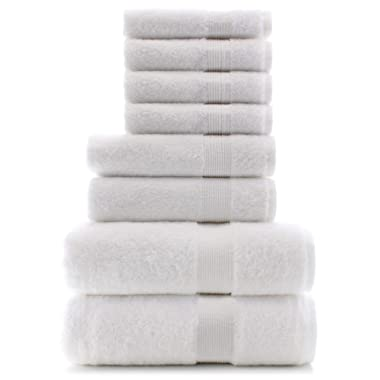 Premium Turkish Cotton Wide Lined Border Eco-Friendly and Long Stable Towel Set of 8 (Whiite)