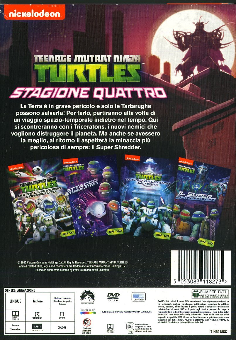 Teenage Mutant Ninja Turtles - Stagione 4 Completa 4 DVD ...