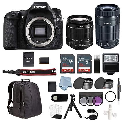 Canon EOS Rebel 80D Bundle con EF-S 18-55 mm es STM & EF-S 55 ...