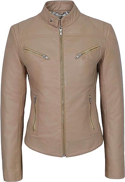 Nouveau cuir d/'agneau classique veste de moto moto motard femme noir cuir femmes vente