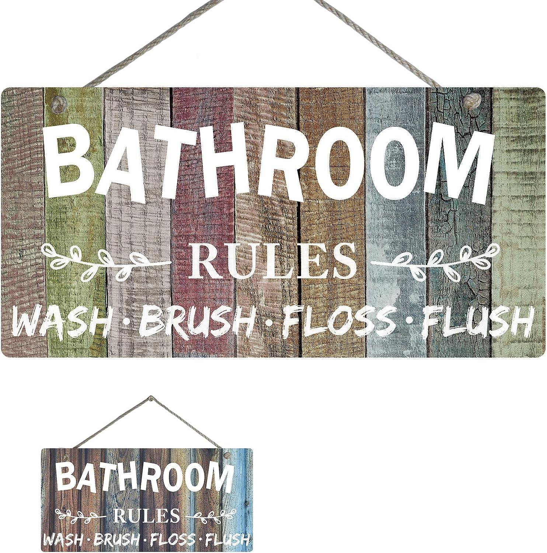 "Bathroom Wall Art Decor Both Sides Printed Wall Plaque Sign - Bathroom Rules Wash Brush Floss Flush Quote, 12""x6"""