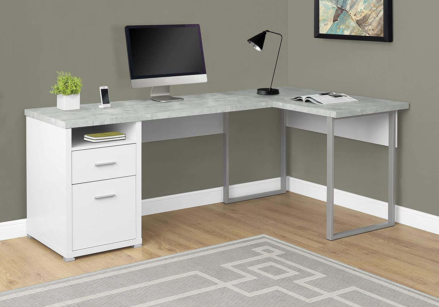"Monarch Specialties I 7258 Computer Desk Left or Right Facing White / Cement-Look 80""L"