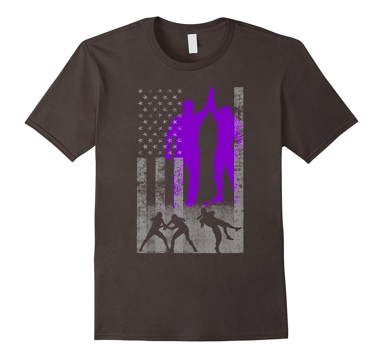 Wrestling American Flag Shirt - Purple Female Wrestler-ANZ