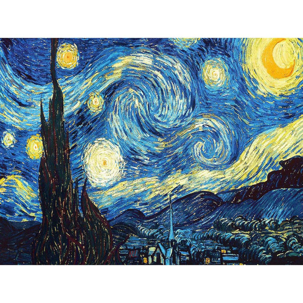 LBGMM Home Decoration DIY 5D Diamond Embroidery Van Gogh Starry Night Cross Stitch Kits Abstract Oil Painting Resin Hobby Craft-60x90cm