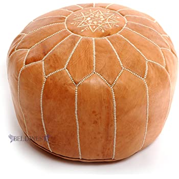 Amazon Stuffed Moroccan Tan Leather Pouf Handmade Pouffe Cool How To Stuff A Moroccan Pouf